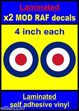 Laminated 2x 4inch RAF Roundel The Who Mod Target Scooter Decals stickers vespa