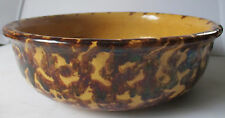 "ANTIQUE YELLOW WARE SPONGEWARE LARGE 8-1/2"" BOWL 195"