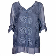 Lagenlook Italian Gorgeous Blue Silk & Lace Embroidered One Size Blouse/Tunic
