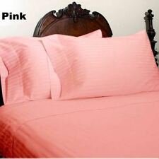 KING SIZE PINK STRIPE BED SHEET SET 800 THREAD COUNT 100% EGYPTIAN COTTON
