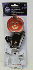Wilton 3 PC HALLOWEEN COOKIE CUTTER SET Pumpkin Black Cat Ghost Metal NIP2