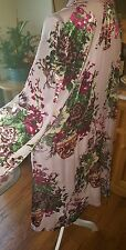 OMG! Pink floral VELVET BURNOUT DUSTER VINTAGE embroid BEADS shawl sequin flower