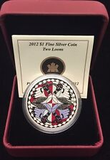 2012 $1 Fine Silver Two Loons Coin with Box & COA