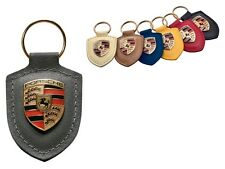 Porsche Original Agate Leather Key Fob with Colour Crest in Presentation Box