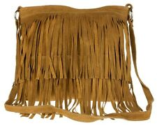 Large Genuine Suede Shoulder Bag Tassel Crossbody Womens Designer Slouch Fringe