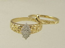 10 KT GOLD NUGGET 2 Pc SET ENGAGEMENT WEDDING BAND MARQUISE CLUSTER DIAMOND RING