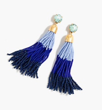 J Crew Beaded Tassel Earrings in Aqua Haze