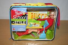 Mattel Barbie School Style Doll in Zippered Lunch Box NIB 55670