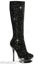 BLACK SUEDE- PEWTER RHINESTONE STILETTO HEEL/PLATFORM KNEE BOOTS/DRAG QUEEN/10