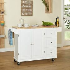 White Kitchen Island 3 Drawer Rolling Storage Cart with Drawers and Natural Top