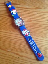 Kids Girls Hello Kitty Blue Wrist Watch Analog Silicone Strap Steel Back