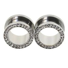 PAIR-STAINLESS STEEL CZ-EAR GAUGES -EAR PLUGS-FLESH TUNNELS-EYELETS CHOOSE COLOR