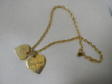 """bebe necklace -2 hearts- gold colored-""""My Heart belongs to bebe"""" on each one"""