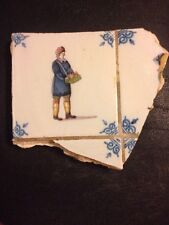 Rare Antique Polychrome Delft Tile Hand Painted Merchant