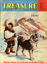 HUSKY SLED DOG MALAMUTE ESKIMO DOG ILLUSTRATED CHILDREN'S MAGAZINE October 1964