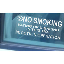 2 x Taxi/Minicab Warning Stickers - NO SMOKING,Eating,Drinking-CCTV In Operation