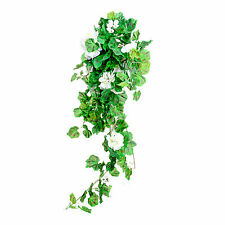 Artificial Silk White Geranium Bush 31 Inches Hanging Basket Window Box Flowers