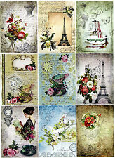 9 PARIS TEA PARTY LADY - VINTAGE THICK 155 LB SCRAPBOOK PAPER CRAFT CARD TAGS
