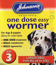 Johnsons DOG WORMER One Dose Treatment Easy Wormer  / Worming Tablets Size 3