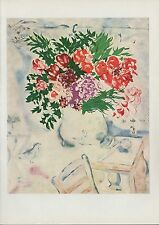 "1963 Vintage ""FLOWERS IN MOURILLON, 1926"" MARC CHAGALL COLOR Art Lithograph"
