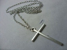 "A Large Cross Tibetan Silver Charm Pendant, Long ( 30"" ) Chain Necklace"