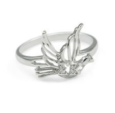 Sigma Kappa sterling silver dove ring with lab-created diamonds NEW!