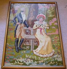 A FINE ANTIQUE HAND MADE PARTLY PETIT POINT GOBELIN PICTURE-A ROMANTIC SCENE