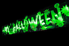 3FT light up flashing Halloween banner 14 green LED'S hanging party decorations