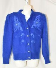 Vintage 80% Angora Electric Blue Sweater Furry Fuzzy Fluffy Beaded Button M