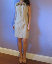 ELIE TAHARI Linen Stretch Sleeveless Gold Exposed Zipper Dress 12 AS-IS GORGEOUS