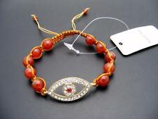 $18 *W Stones & Beads* Burnt Orange Jade &  Evil Eye Beaded Shamballa Bracelet