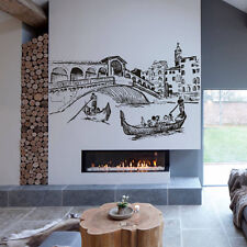 Wall Decal Sticker Skyline Town City Venice Italy water gondola Bedroom M1559