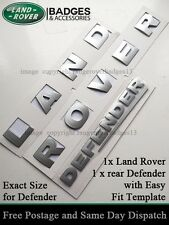 LAND ROVER LETTERS SILVER 3D Lettering Badge Emblem  DEFENDER 90 110 BONNET REAR