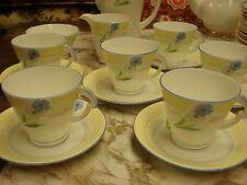 YELLOW Standard China England COMPLETE TEA SET 6 cups/saucers cream/sugar teapot