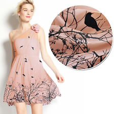 100% PURE SILK CHIFFON BIRDS BRANCHES PRINT NUDE PINK BY THE METER S313