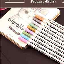10Pcs Color Metallic Fine Pen Pencil Marker DIY Album Dauber Pen Set Waterproof