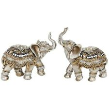 SET OF TWO Assam Elephant Small 11cm Gold Statue Ornament Figurine