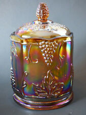 Indiana Glass Carnival Covered Glass Candy Jar Harvest Grape