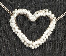 Dana Kellin Intricate Wrapped Heart Sterling Silver Necklace with Sea Pearls