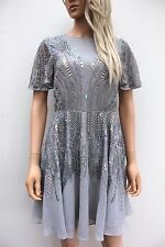 Asos Silver Sparkle Embellished Sequin Mini Skater Party Dress size 12 RRP £85