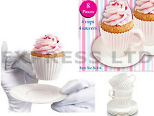 8 PC SILICONE MOULDS BAKING PARTY TEA CUP CUPCAKE FUN CAKES CUPCAKES AFTERNOON
