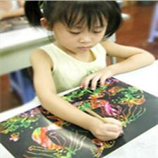 1Set 16K Scratch Art Paper Magic Painting Paper W/ Drawing Stick For Kids JJ