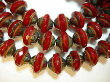 25 7mm Czech Glass Red Orange Opal Travertine Saturn Saucer Beads