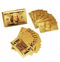 24K GOLD PLATED DOLLAR PLAYING CARDS FULL POKER DECK 99.9% PURE CHRISTMAS GIFT