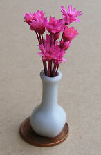 1:12 Scale Pink Flowers In A Vase Dolls House Miniature Flower Accessory W48