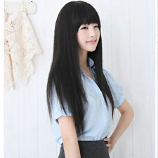 Fashion Long Straight Black Women's Girl Full Hair Cosplay/Party Wigs 25""