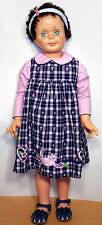 "1960s Unmarked Playpal-Type 35"" Doll - Dark Hair, Blue Eyes in Kitty Jumper"