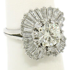 Platinum 4.34ctw GIA I VS2 Round Diamond Baguette Cushion Shape Ballerina Ring