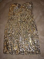 Arden B Sequin Ombre Tube Strapless Dress Gold Silver Small S