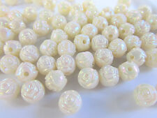 72 Ivory Pearl Rose 8mm Round Plastic Bead/Craft/Beading B10